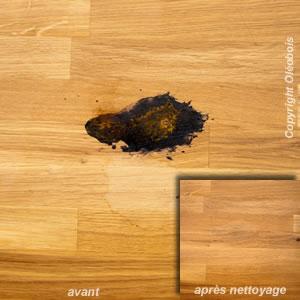 Enlever des taches sur une table ou un plan de travail blog protection bois - Enlever de la peinture sur du bois ...